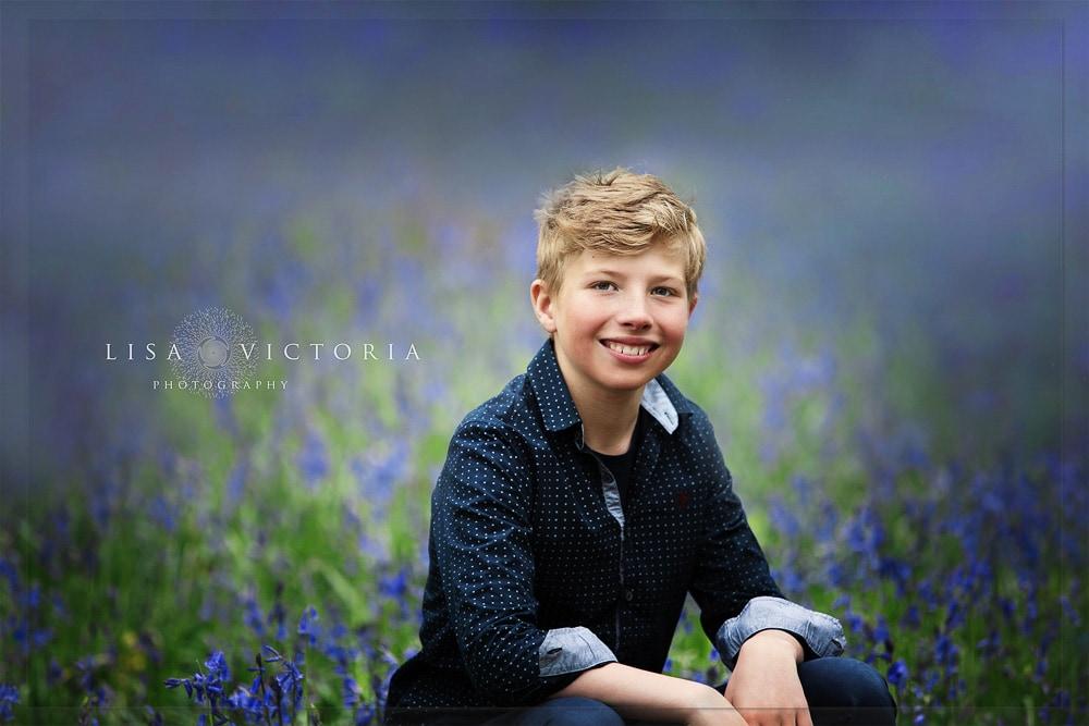 boy in bluebells woods portrait photographer bristol