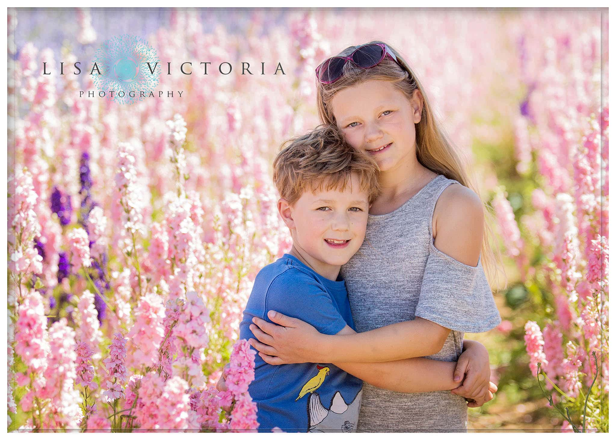 family portrait photography flower field
